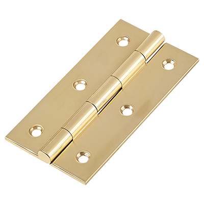 Solid Drawn Hinge - 75 x 40 x 2.0mm - Polished Brass