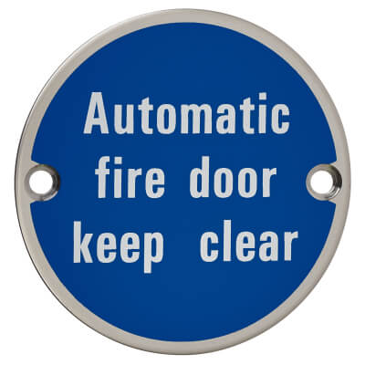 Automatic Fire Door Keep Clear - 75mm - Polished Stainless Steel