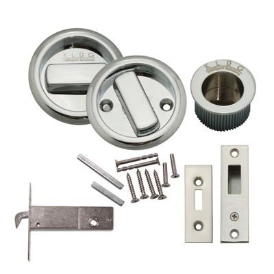 KLUG Round Flush Handle Set with Latch - Polished Chrome