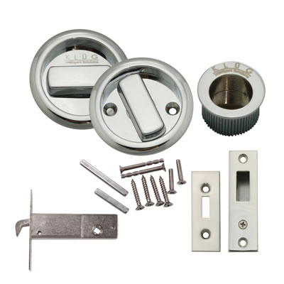 KLUG Round Flush Handle Set with Latch - Polished Chrome