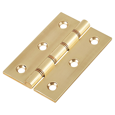 Double Phosphor Bronze Washered Hinge - 75 x 50 x 2.5mm - Polished Brass