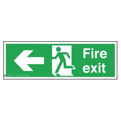Fire Exit - Left Arrow - Braille
