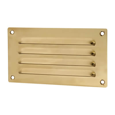 Hooded Louvre Vent - 165 x 89mm - 2290mm2 Free Air Flow - Polished Brass