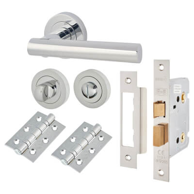 Door Handle on Rose Kit - Bathroom Lock - Polished Chrome