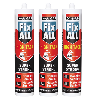 Soudal Fix All High Tack - 290ml - White - Pack of 3