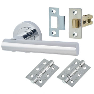 Door Handle on Rose Kit - Latch - Polished Chrome