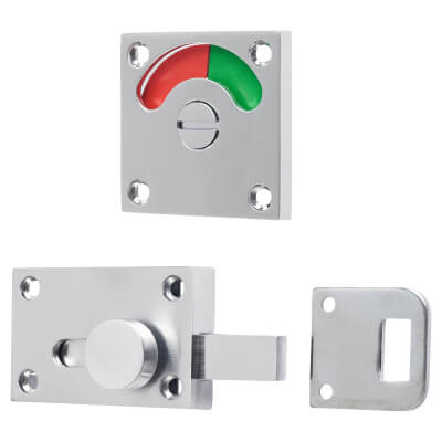 London Washroom Indicator Bolt - Satin Chrome