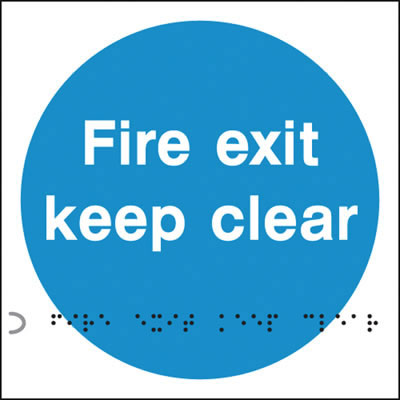 Fire Exit Keep Clear Sign - Braille