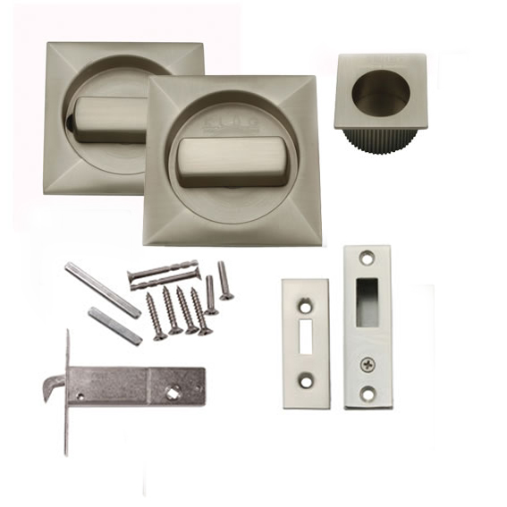 KLUG Square Flush Handle Set with Latch - Satin Nickel