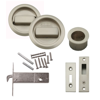 KLUG Round Flush Handle Set with Latch - Satin Nickel