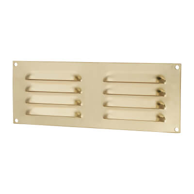 Hooded Louvre Vent - 242 x 89mm - 3973mm2 Free Air Flow - Polished Brass