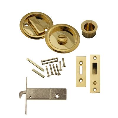 KLUG Round Flush Privacy Set with Bolt - PVD Brass