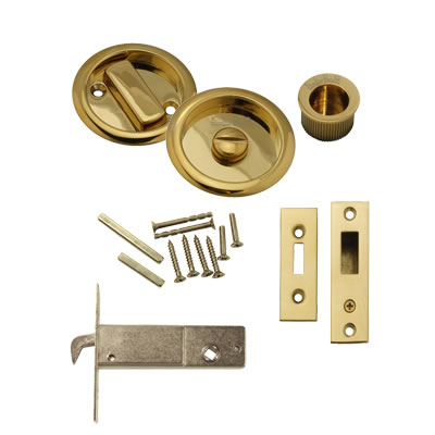 KLUG Round Flush Privacy Set with Bolt - PVD Brass