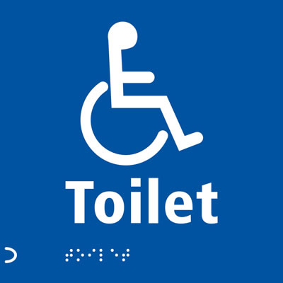 Disabled Toilet Door Sign - Braille