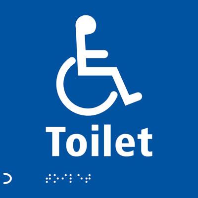 Disabled Toilet Door Sign - Braille