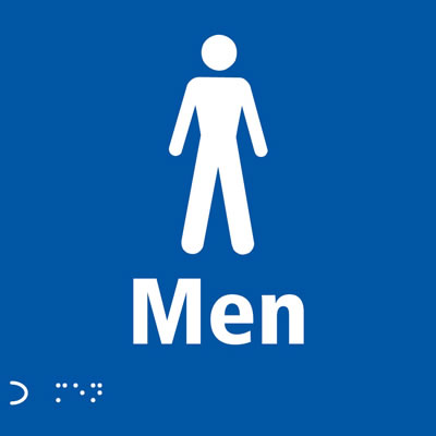 Gents Toilet Door Sign - Braille