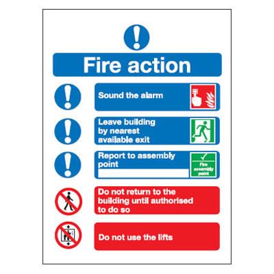 Symbolised Fire Action Notice - 300 x 250mm - Rigid Plastic