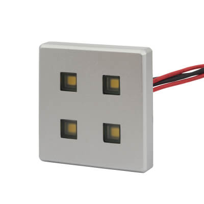 Leyton LED Square Plinth Light With Plugged Driver - 38 x 38mm - 4 x 0.5W