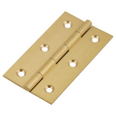 Solid Drawn Hinge - 64 x 35 x 1.45mm - Satin Brass