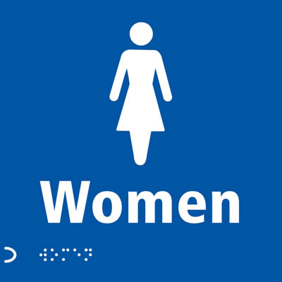 Ladies Toilet Door Sign - Braille