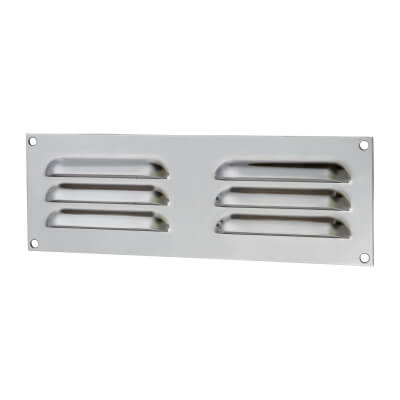 Hooded Louvre Vent - 229 x 76mm - 2470mm2 Free Air Flow - Polished Chrome