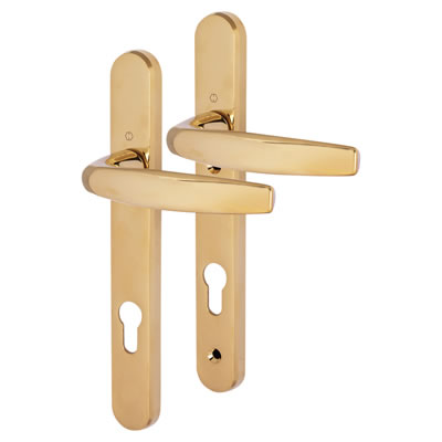 Hoppe Atlanta Multipoint Handle - uPVC/Timber - 92mm centres - 60mm door thickness - Polished Brass