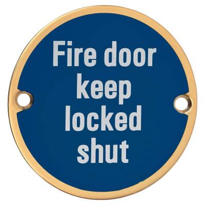 Fire Door Keep Locked Shut - 75mm - Polished Brass
