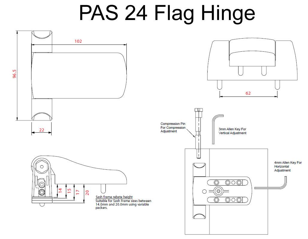 Fab Amp Fix Pas 24 Flag Hinge Upvc Timber 17mm