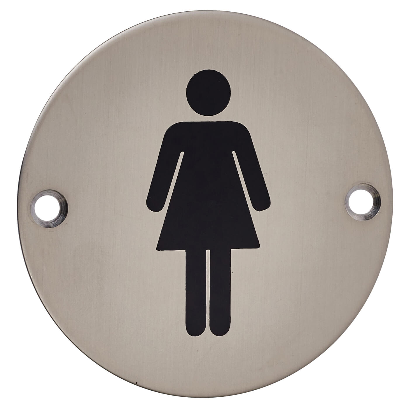 Ladies toilet sign 75mm satin stainless steel ironmongerydirect for Stainless steel bathroom signs