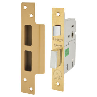 Legge Heavy Duty BS3621:2007 5 Lever Sashlock - 76mm Case - 57mm Backset - Polished Brass