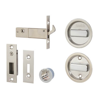 KLÜG Round Flush Handle Set with Latch - Stainless Steel Grade 304 - Polished