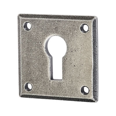 Olde Forge Square Escutcheon - Keyhole - Pewter