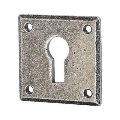 Olde Forge Square Escutcheon - Keyhole - Pewter