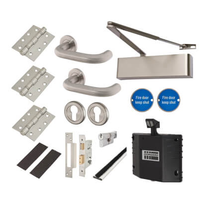 Heavy Duty Lever on Rose Fire Door Kit with Hold Open Device - DIN Euro Sashlock - Stainless Steel