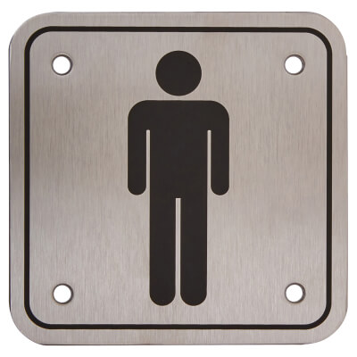 Mens Square Toilet Door Sign - 100 x 100mm - Stainless Steel)