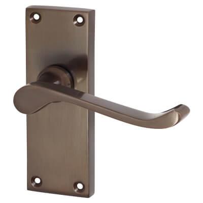Jedo Victorian Scroll Door Handle - Latch Set - Dark Bronze