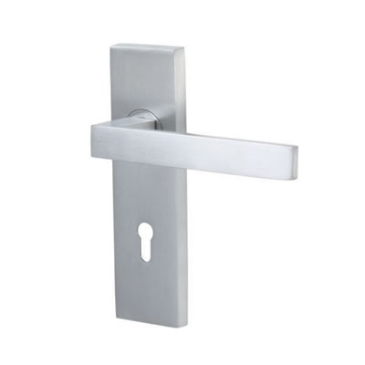 M Marcus Delta Door Handle - Keyhole Lock Set - Satin Chrome