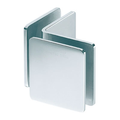 Glass to Glass Clamp - 90° - 8-12mm Glass - Polished Chrome