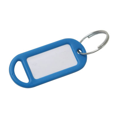 Key Ring Tag - 48 x 21mm - Blue - Pack 10