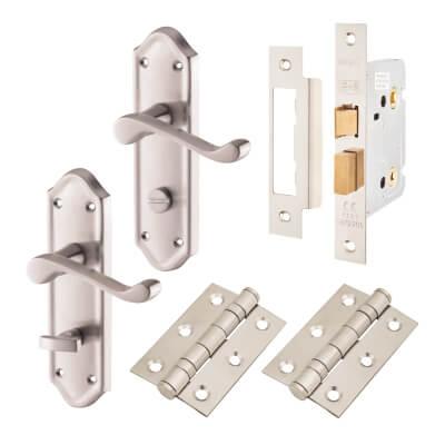 Aglio Ashmead Handle Door Kit - Bathroom Set - Satin Chrome