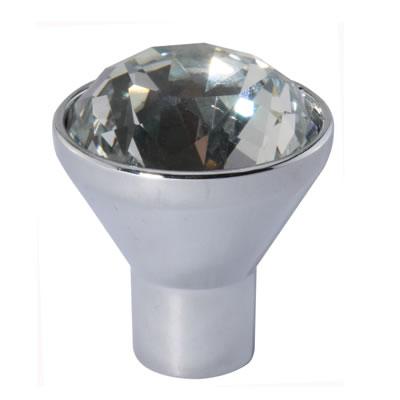 Aglio Raised Cut Crystal Glass Cabinet Knob - 29mm - Polished Chrome