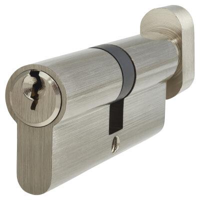 5 Pin Cylinder - Euro Thumbturn - Length 80mm - 40[k] + 40mm - Nickel