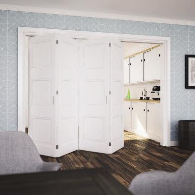 KLÜG Folding Door Kit - 3m Track for 40kg Doors - 4 Leaves in Two Directions