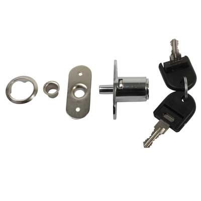 Cabinet Push Lock - 19 x 23mm - Keyed Alike Differ 1 - Chrome Plated