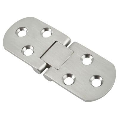 Counter Flap Hinge - 80 x 30 x 2.5mm - Satin Chrome - Pair