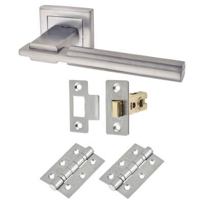 Morello Alpha Door Handle - Door Kit - Satin Chrome