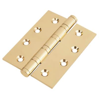 Performance Ball Bearing Hinge - 100 x 75 x 3mm - Polished Brass - Pair)