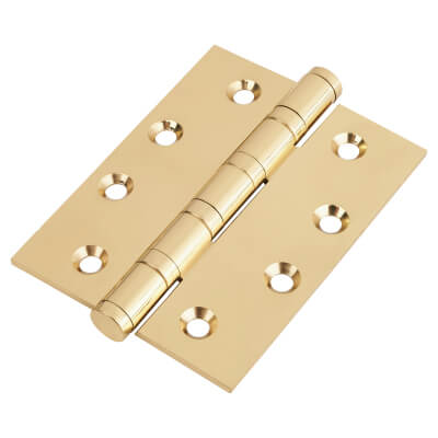 Performance Ball Bearing Hinge - 100 x 75 x 3mm - Polished Brass - Pair