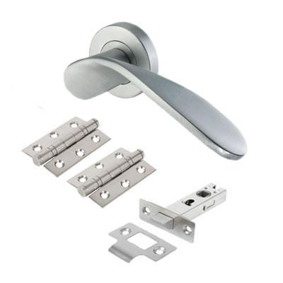 M Marcus Volo Door Handle - Door Kit - Satin Chrome