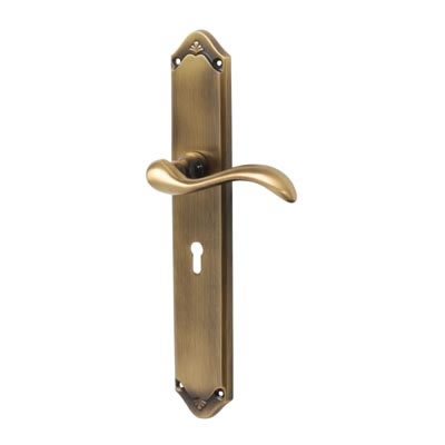 M Marcus Lara Door Handle - Keyhole Lock Set - Antique Brass
